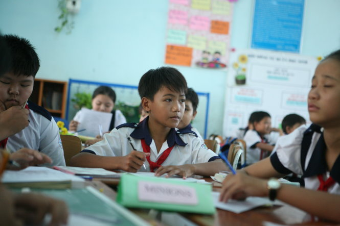 Một lớp học theo mô hình VNEN ở Khánh Hòa - Ảnh: VĨNH HÀ